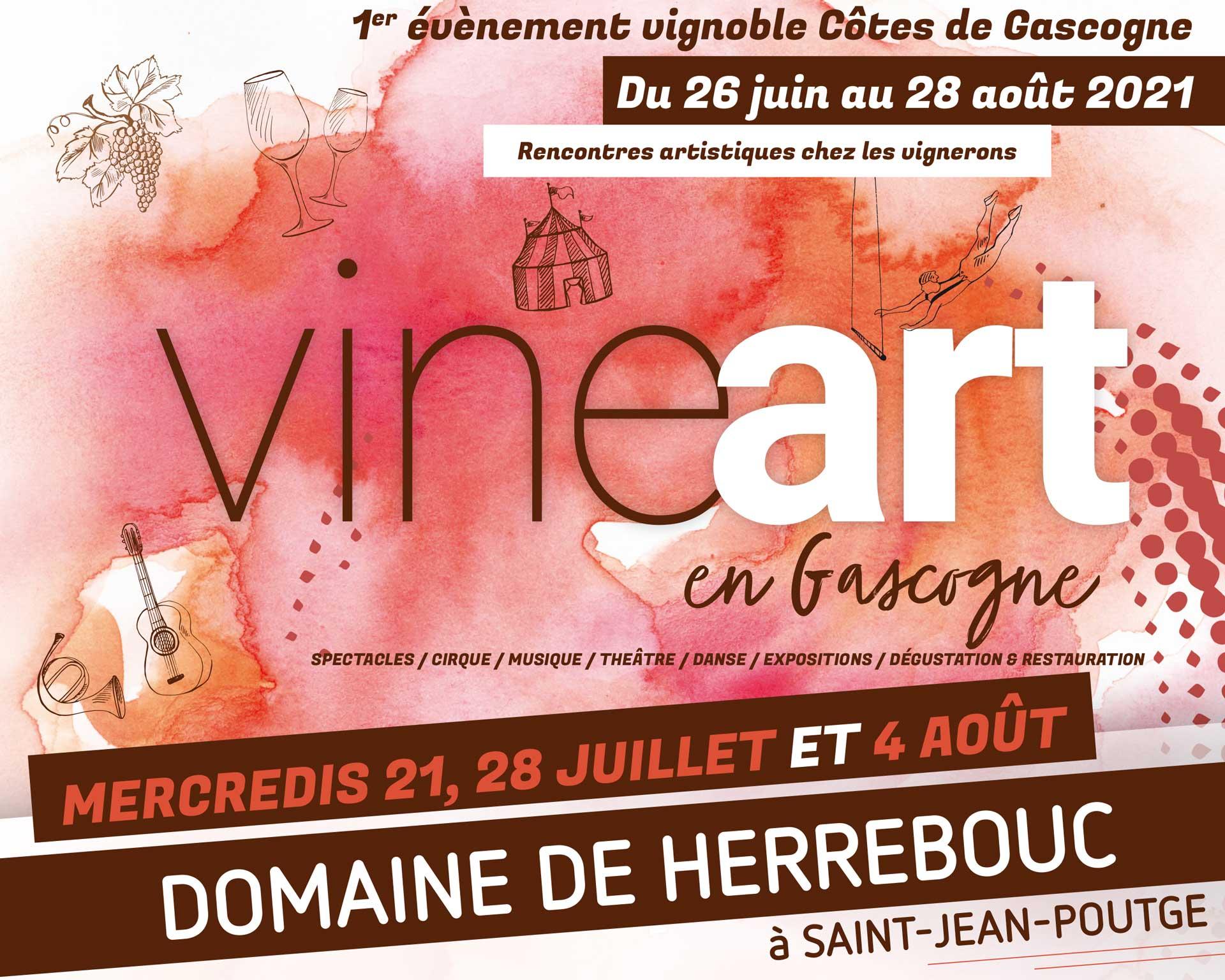 Flyer Vineart en Gascogne à Herrebouc